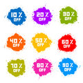 Colorful Discount Labels Royalty Free Stock Photography