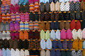 Colorful display of Moroccan slippers Stock Images