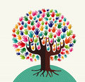 Colorful diversity tree hands Royalty Free Stock Photo