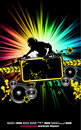Colorful DJ Disco Flyer with Rainbow Colours Royalty Free Stock Images
