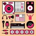 Colorful dj music set.