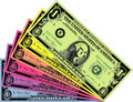 Colorful Dollars Stock Photography