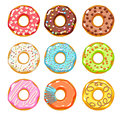 Colorful donuts icons set. Sweet bakery vector.