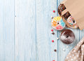 Colorful donuts in paper bag Royalty Free Stock Photo