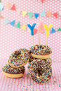 Colorful donuts with sprinkles Royalty Free Stock Photo
