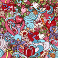 Colorful doodle abstract decorative Love vector seamless pattern