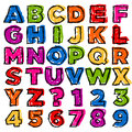 Colorful Doodle Alphabet and Numbers Stock Photos
