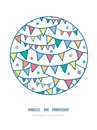 Colorful doodle bunting flags circle decor pattern vector background with hand drawn elements Stock Photo