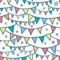 Colorful doodle bunting flags seamless pattern vector background with hand drawn elements Royalty Free Stock Images