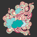 Colorful doodle with clouds and flowers floral Royalty Free Stock Image