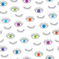 Colorful doodle eyes seamless pattern.