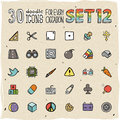 Colorful doodle icons set vector Stock Photography