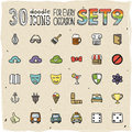 Colorful doodle icons set vector Royalty Free Stock Photo