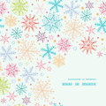 Colorful doodle snowflakes corner frame seamless vector pattern background with drawn on light sky background Stock Photos