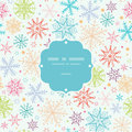Colorful doodle snowflakes frame seamless pattern vector background with drawn on light sky background Royalty Free Stock Photos