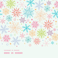 Colorful doodle snowflakes horizontal border vector seamless pattern background with drawn on light sky background Stock Images