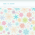 Colorful doodle snowflakes horizontal torn frame vector seamless pattern background with drawn on light sky background Royalty Free Stock Images