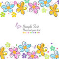 Colorful doodle spring flowers frame greeting card vector Stock Images