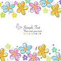 Barvitý čmáranice jaro květiny rám blahopřejná pohlednice