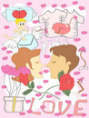 Colorful doodle Valentine's Day background Stock Images