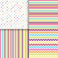 Colorful dotted and striped seamless patterns vector backgrounds