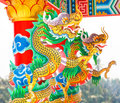 Colorful dragon statue china temple Royalty Free Stock Image