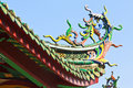 Colorful dragon statue on china temple roof Royalty Free Stock Image