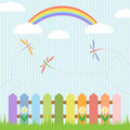 Colorful dragonflies with rainbow Royalty Free Stock Photo