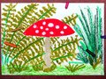 Drawing: Red toadstool in the grass