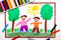 Drawing: Two smiling boys are walking in the woods Royalty Free Stock Photo