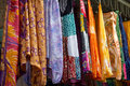 Colorful dresses in a street market selection of traditional oriental arabic Royalty Free Stock Photos