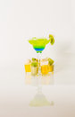 Colorful drink in a margarita glass, blue and green combination, Royalty Free Stock Photo