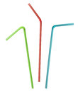 Colorful drink straw collection clipping path Stock Photography