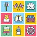 Colorful Driving Icons Royalty Free Stock Photo