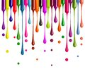 Colorful drops of nail polish drip from brushes isolated on white background