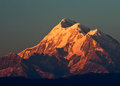 Colorful dusk on mount trishul snow clad mountain peak of is located in uttrakhand of india it is one of the highest peak in Royalty Free Stock Image