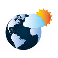 Colorful earth world map with cloud and sun
