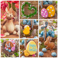 Colorful easter collage cookies Royalty Free Stock Photos