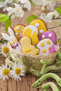 Colorful easter cookies in a nest Stock Photos