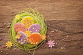 Colorful easter cookies on a wooden background Royalty Free Stock Photo