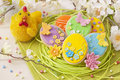 Colorful easter cookies on a wooden background Stock Image