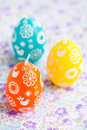 Colorful Easter egg candles Stock Photo