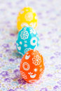 Colorful Easter egg candles Royalty Free Stock Images
