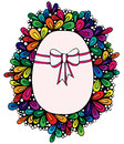 Colorful Easter egg with greeting ribbon in abstract frame