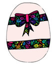 Colorful Easter egg with greeting ribbon