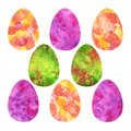 Colorful Easter Eggs. Yellow, pink, green watercolor spots