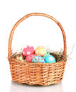 Colorful Easter eggs in the basket Royalty Free Stock Images