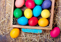 Colorful Easter eggs in a box Royalty Free Stock Photo