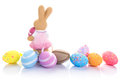 Colorful easter eggs bunny over white background Stock Image
