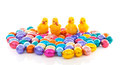 Colorful easter eggs chickens over white background Stock Photo